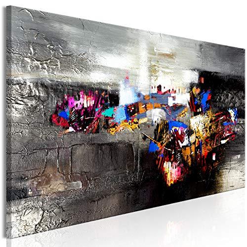 decomonkey Bilder Abstrakt 120x40 cm 1 Teilig Leinwandbilder Bild auf Leinwand Vlies Wandbild Kunstdruck Wanddeko Wand Wohnzimmer Wanddekoration Deko Modern schwarz-bunt