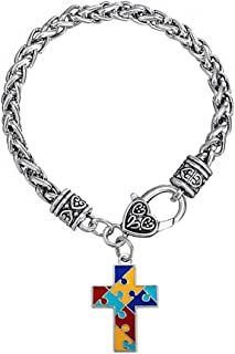 LovelyJewelry Cross Autism Awareness Puzzle Jigsaw Charm Bracelet