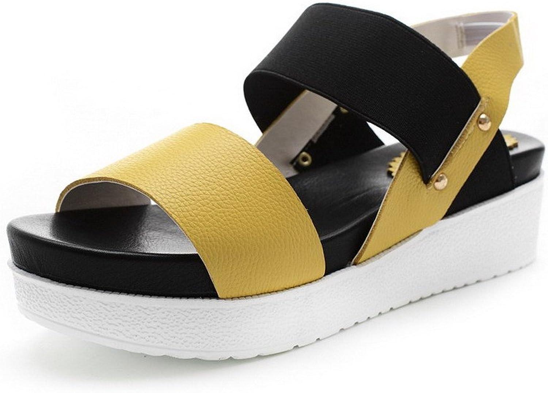 AmoonyFashion Women's Nappa Pull On Open Toe Kitten Heels Solid Sandals