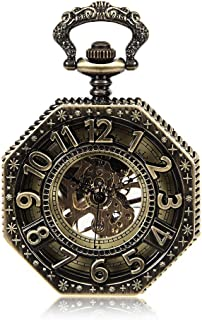 Octagonal Mechanical Pocket Watch Foreign Trade Hot Classic Retro Flip Hollow Mechanical Pocket Watch A Nice Gift Vintage Pocket Watch (Color : Bronze, Size : 4.7x1.5cm)