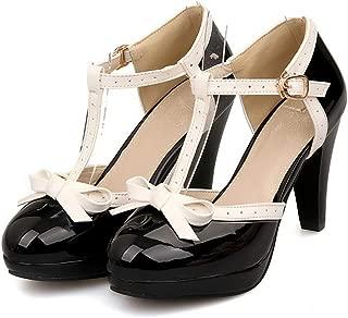 Fashion T Strap Bows Womens Platform High Heel Pumps Shoes