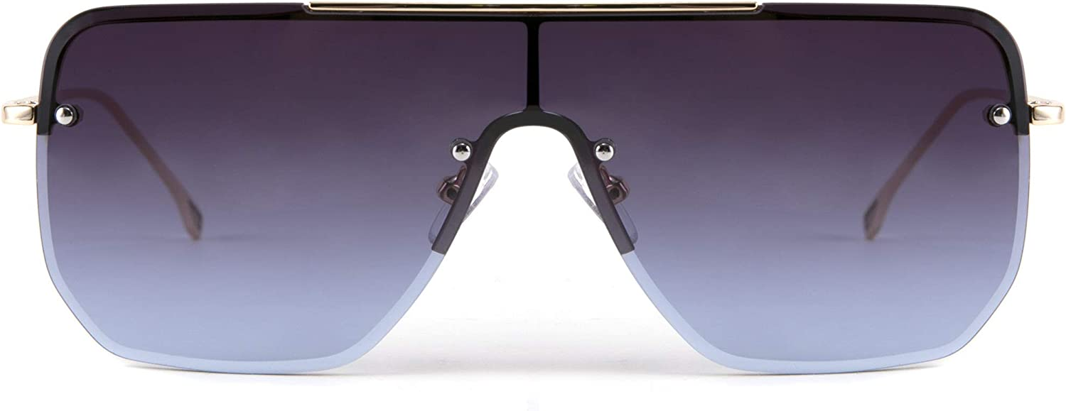 FEISEDY Siamese Flat Top Square One Piece Semi-Rimles Sale special price Sales for sale Sunglasses