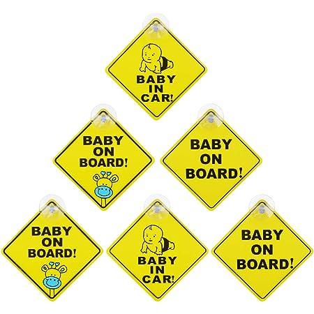 Chudian 6 Stück Baby On Board Warnschild Aufkleber Mit Saugnapf Hitzbeständig Kein Ausbleichen Kindersicherheit Autuschild Vorsicht Zeichen Gelb Baby