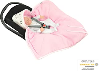 MoMika Swaddling Blanket | Bunting Bag I Universal Fit for Car Seat I Cybex, Maxi COSI | Stroller | Buggy or Baby Bed| 100% Cotton (Pink-Panda)