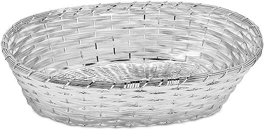 chapada en Plata y protegida contra el deslustre Edzard Cesta de Pan//Cesta de Servir Cesta Trenzada 18 x 23 cm Ovalada