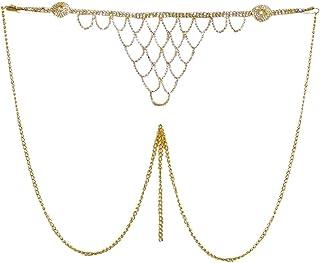 DollsofIndia White Stone Studded Golden Metal Kamarband for Women - Waistband - 13 inches Chain - 40 inches (KX90)
