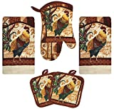 Farm Rooster Kitchen Decor Linen Set Includes 2 Dish Towel 2 Pot Holders 1 Oven Mitt | Kitchen Towel Set For Cooking, Baking, Housewarming and Kitchen Decoration (Set of 5 Piece)