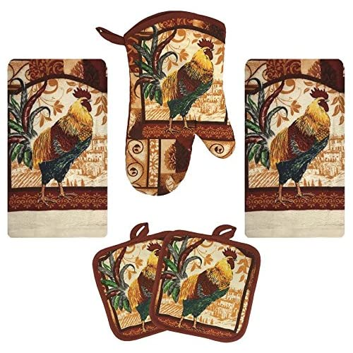 Ordinaire Kitchen Towel Set 5 Piece Towels Pot Holders Oven Mitt Decorative Design  Everyday Use (5