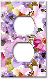 Art Plates OVER SIZED Outlet Cover/OVERSIZE Outlet Switch Plate - Pink & Purple Flower Watercolor