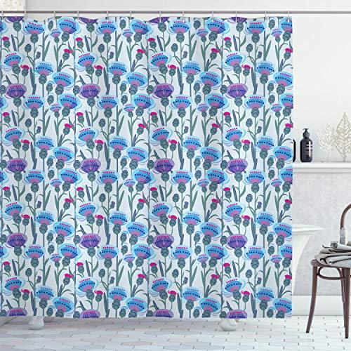 ABAKUHAUS Distel Duschvorhang, Distel-Blumenstrauß-Druck, mit 12 Ringe Set Wasserdicht Stielvoll Modern Farbfest & Schimmel Resistent, 175x240 cm, Mehrfarbig