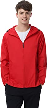 Enidmil Watertight Mens Front-Zip Hooded Rain Jacket