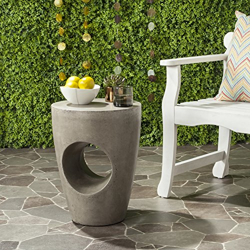 Safavieh Outdoor Collection Aishi Modern Concrete Dark Grey Round 17.7-inch Accent Table