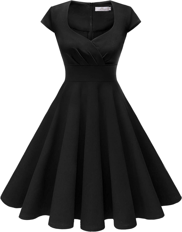 Homrain Women's 1950s Retro Vintage Cap Sleeve Rockabilly Swing Dress Cocktail Dresses