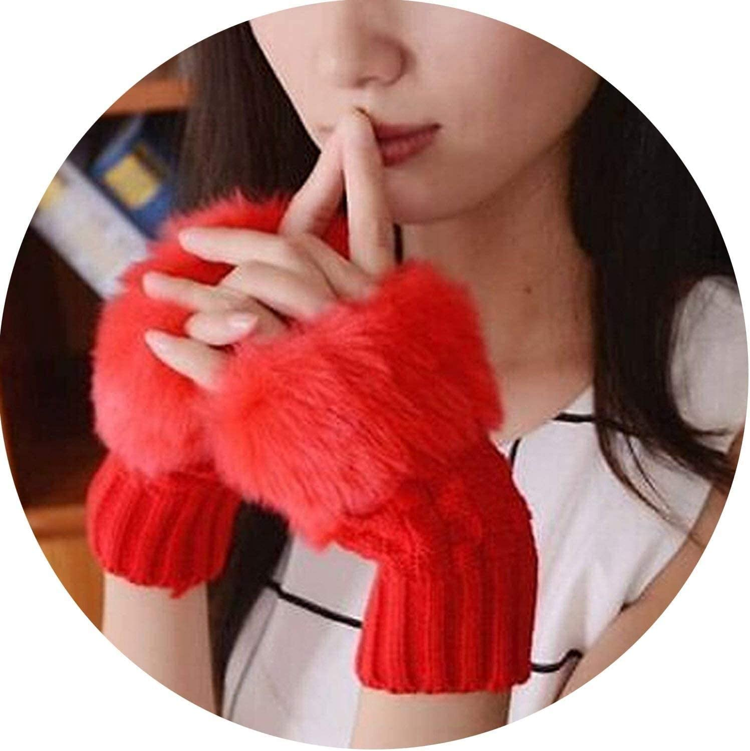 Samantha Warm Gloves Women Winter Knitted Faux Fur Fingerless Gloves Warm Woolen Solid Color Cute Gloves (Color : Red, Size : Oneszie)