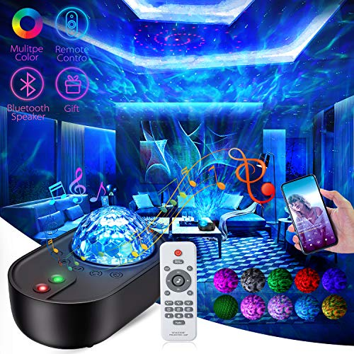 Star Projector Galaxy Porjector 4 in 1 Galaxy Light Night Light Ocean Wave Galaxy Globe Projector with Bluetooth Music Speaker Star Galaxy Projector for Bedroom Ceiling Kids Adults Baby Room Gifts