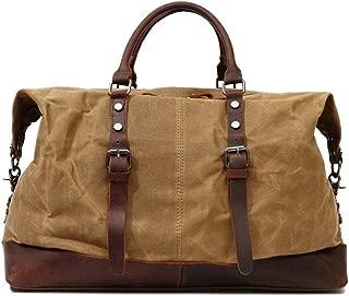 Outsize Waxed Canvas Genuine Leather Clip Travel Duffel Leather laptop bag Shoulder Handbag Weekender Leather laptop bag Outdoor Overnight Luggage Duffle JUYOUSHENGKEJI