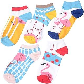 FENICAL, Calcetines de mujer de 5 pares Calcetines cortos de algodón de cuatro temporadas Calcetines ocasionales de antideslizante de Flamingo encantador de la historieta (estilo Assoted)