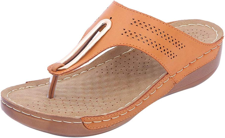 Btrada kvinnor Casual Slippers Wedges Platform Flip Flop Cork Cork Cork Sole sommar Comfortable Flat Slide Sandals  inget minimum