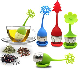 Tea Infuser with Drip Tray Included Set of 5, SourceTon Silicone Handle Stainless Steel Strainer Filter Loose Tea Steeper...