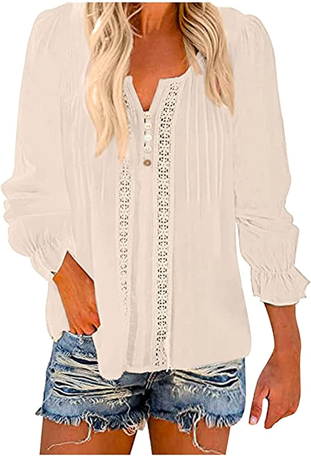 Women Solid V-Neck Lace Crochet Eyelet Shirts Long Sleeve Casual Blouses Tops Summer Loose Tunic Tees