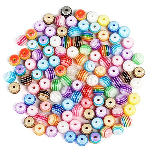 Naler 300 Stück Perlen Mehrfarbig Acryl Rund zum Auffädeln Basteln Armbänder
