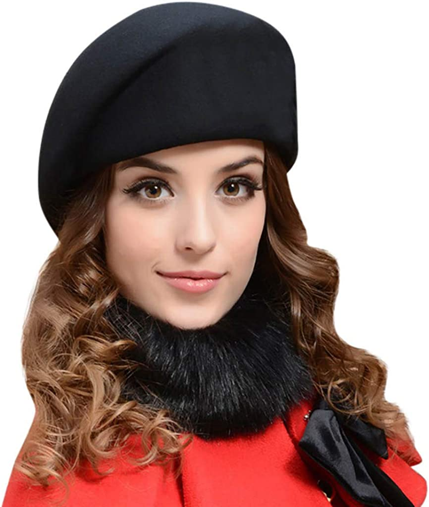 TUSANG Women Hats Wool Beret and Winter Comfortable Outdoor Warm Stewardes Hat Caps