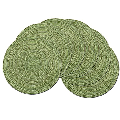 SHACOS Round Placemats Set of 6 for Dining Tables 15 inch Cotton Braided Placemats Washable Reversible for Kitchen Holiday Party (Pea Green, 6)