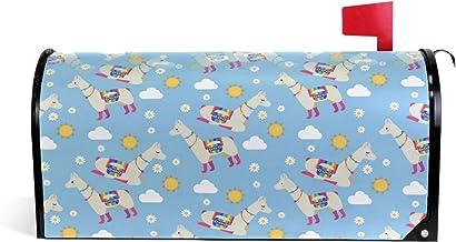 Schattig Alpaca Patroon met Elementen Magnetische Postbus Cover Tuin Home Decor Oversized 25,5 x 18 Inch