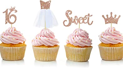 Rose Gold Glitter Sweet Sixteen Birthday Party Decorations Sweet Sixteen Cupcake Topper Kit