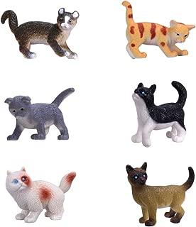 HunSon Mini Cat Figures (6 PCs), Mini Cat Toys Cupcake Toppers, Cat Cake Decoration Figures for Cat Theme Parties