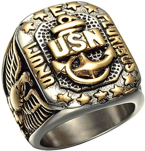 Los Hombres De USN Vintage Marines Ringstainless Ancla Del Acero De Estados Unidos Armada Militar Del Ejército De EE.UU. Anillo Del Motorista Marina Para El Hombre Punk, Retro Águila Signet Anillos,8