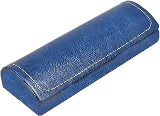 Lesirit Hard Shell Eyeglass Case Print Eyeglass Protective Case Glasses Holder Leather a Blue