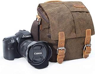 Kameraväska, vintage kanvas kamera axelväska vattentät läder trim DSLR SLR stötsäker kamera messengerväska brun