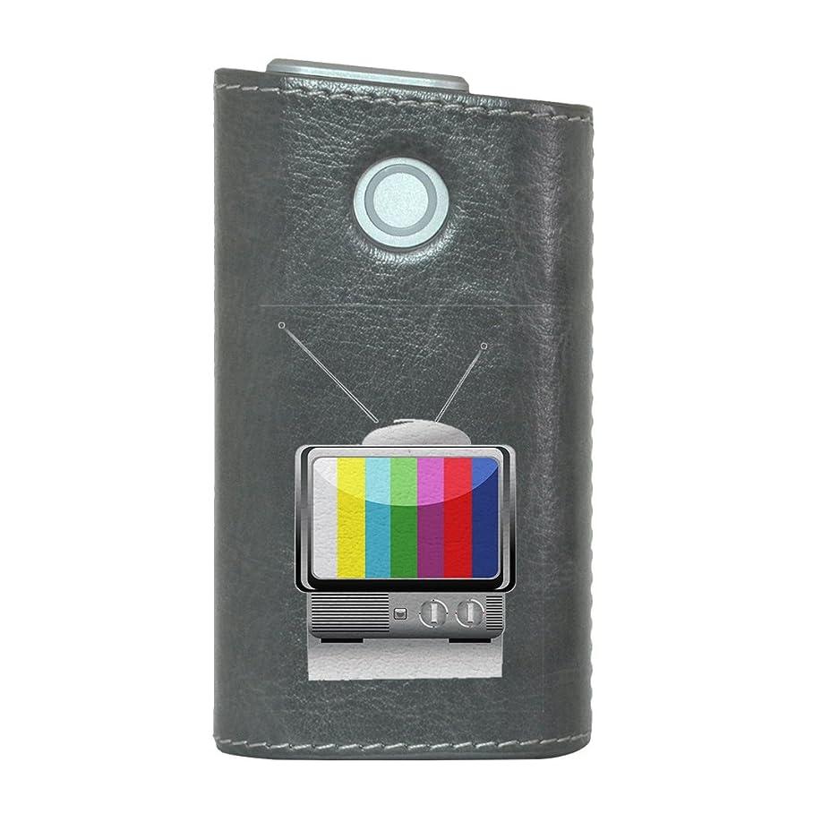電話するつぶすメタリックglo グロー グロウ 専用 レザーケース レザーカバー タバコ ケース カバー 合皮 ハードケース カバー 収納 デザイン 革 皮 GRAY グレー ユニーク テレビ カラフル 002402