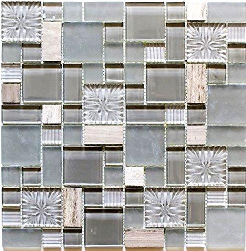 Mosaik Fliese Transluzent grau Kombination Glasmosaik Crystal Stein klar grau grau matt für WAND BAD WC DUSCHE KÜCHE FLIESENSPIEGEL THEKENVERKLEIDUNG BADEWANNENVERKLEIDUNG Mosaikmatte Mosaikplatte