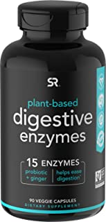 Digestive Enzymes with Probiotics and Ginger   Plant Based Supplement for Dairy, Protein, Sugar & Carbs Digestion   Non-GM...