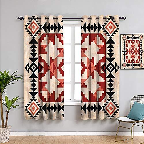 Pcglvie Cortinas geométricas impresas opacas para dormitorio, cortinas de 99 cm de longitud ornamentos nativos americanos insonorizados, pantalla de 54 x 39 pulgadas de ancho