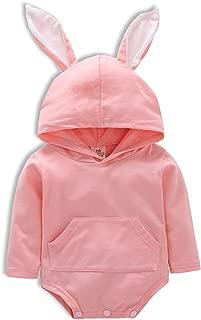 Baby Boys Girls Bunny Hooded Romper Cartoon 3D Rabbit Long Sleeve Bodysuit