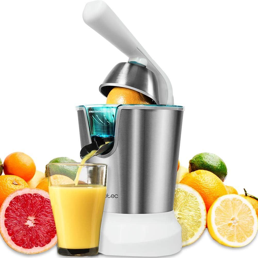 Cecotec Zitrus PowerAdjust 600 Exprimidor naranjas eléctrico de Brazo, 600 W con Filtro regulador de Pulpa, Filtro de Acero INOX, Dos Conos de Diferente tamaño
