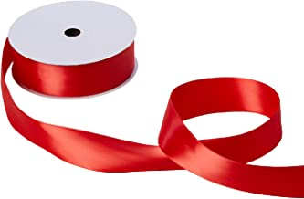 "Jillson Roberts Bulk Spool 1.5"" x 50 Yards Double-Faced Satin Ribbon Available in 7 Colors, Red"