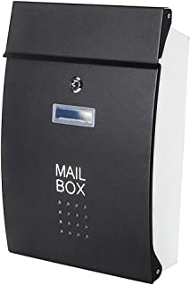 Safe Wall Mounted Mailboxes with Key Lock, Decaller Metal Medium Galvanized Rust-Proof Mail Box, 10 3/5 x 15 3/5 x3 1/2, Black