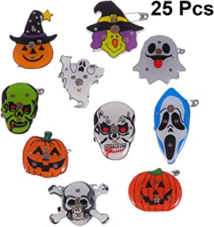 Amosfun 25Pcs Halloween LED Brooches Halloween Light Up Party Favors Pumpkin Skull Ghost Flashing Pins Buttons Glowing Badge Brooch Kids Christmas Party Favor Gifts (Mixed)
