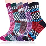 Jeasona Womens Wool Socks Thick Warm Winter Vintage Knit Thermal Gifts (C Multicolored Stripe-5 Pairs)