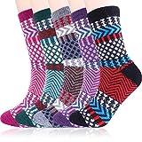 Women Warm Winter Wool Socks Cozy Soft Vintage Boot Socks Pack of 5 (Multicolored Stripe)