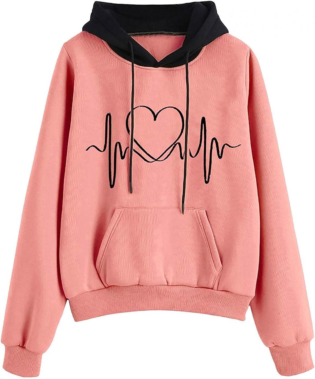 Toeava Sweatshirts for Women, Women's Autumn Casual Pouch Pocket Pullover Hoodie Sweatshirt Drawstring Long Sleeve Top