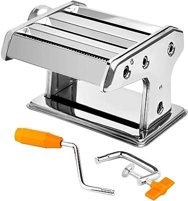 Máquina para hacer pasta Apstour de acero inoxidable, manual de manivela, cortador de rodillos de pasta, fideos, 6 ajustes de espesor, para rodillo de masa de espaguetis y lasaña
