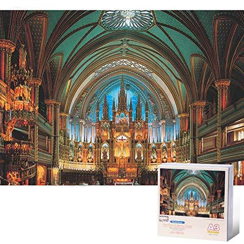 Puzzle para adultos Mini 1000 piezas Puzzles Adultos y niños juguetes educativos Mundial de Arquitectura del Paisaje de Notre-Dame de Montreal DIY Decoración Puzzle (42 x 29,7 cm) Juegos familiares