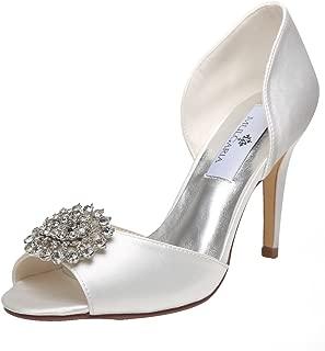 Women High Heel Peep Toe D'Orsay Pumps Rhinestones Satin Evening Prom Wedding Shoes
