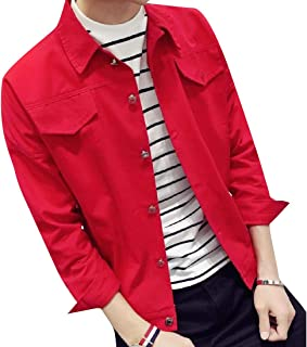 Coolred-Men Vintage Slim Fit Candy Color Button Down Denim Jacket
