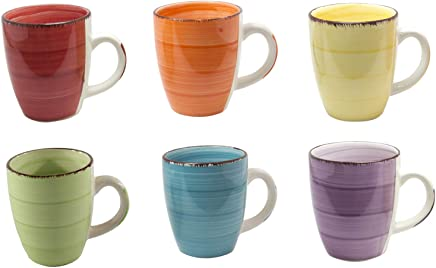 Preisvergleich für 6er Set Kaffee Tee Kakao Becher Tassen Pott Porzellan Uni bunt Modernes Design ca. 350 ml (Gelb,Grün,Orange,Blau,Rot und Lila)